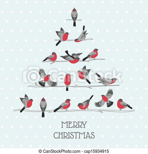 Retro Christmas Card - Birds on Christmas Tree - for invitation, congratulation in vector - csp15934915