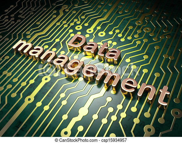 Information concept: circuit board with word Data Management, 3d render - csp15934957