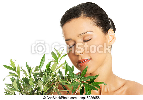Woman with health skin and with olive tree - csp15936658