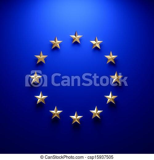 European union flag on wall under light  - csp15937505
