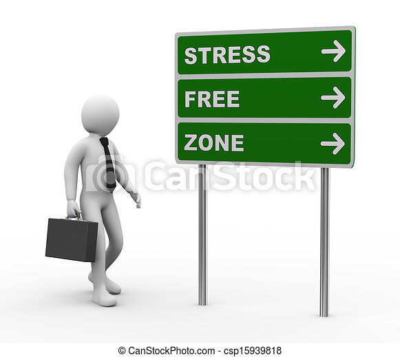 3d illustration of man and green roadsign of stress free zone . 3d