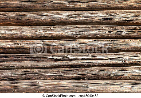 Wooden logs wall of old rural house background - csp15940453