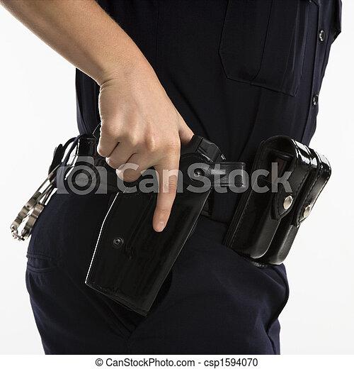 Armed policewoman. - csp1594070