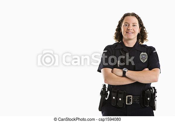 Smiling Policewoman. - csp1594080