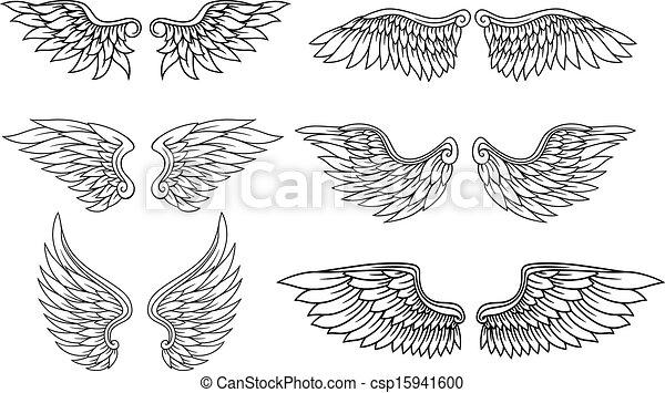 Eagle Wings Drawings Set of Eagle or Angel Wings