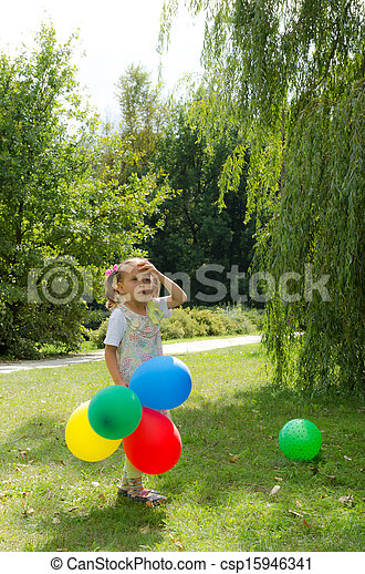 small girls with aerial balloon - csp15946341