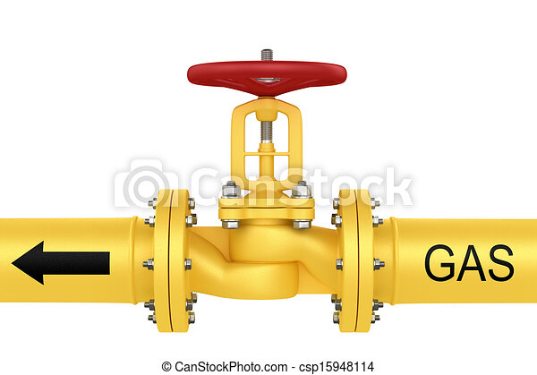 Clipart of Valve on the gas pipeline. Isolated on white ...