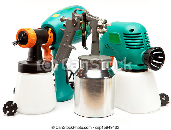 The tool for a painting of surfaces - spray gun electrical and manual mechanical - csp15949482