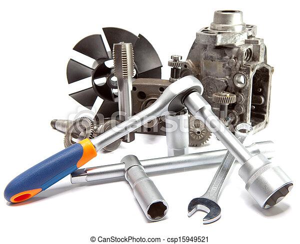 修理, 汽車, 工具, 高, 壓力, 泵, 部份, 背景, 白色 - csp15949521