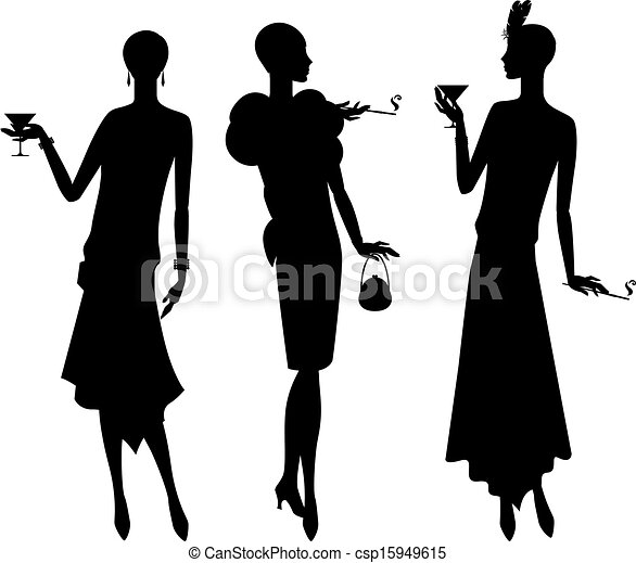 Silhouettes of beautiful girl 1920s style. - csp15949615