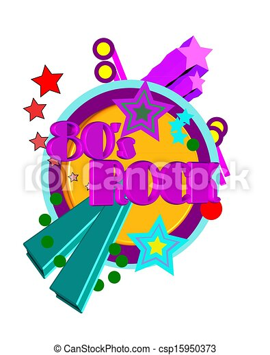80s Rock Clip Art Stock photo - 80s party poster