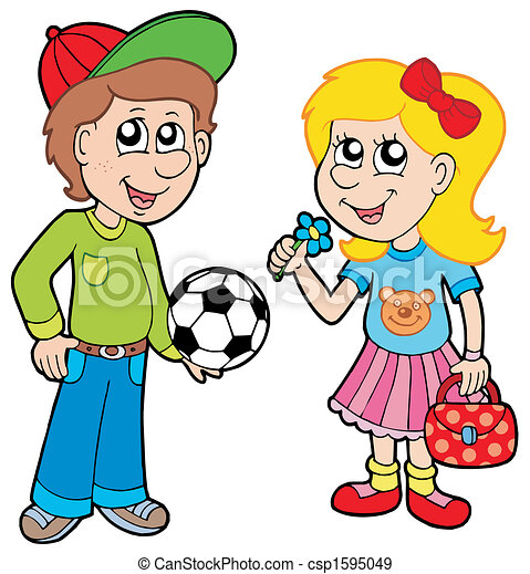 Cartoon boy and girl - csp1595049