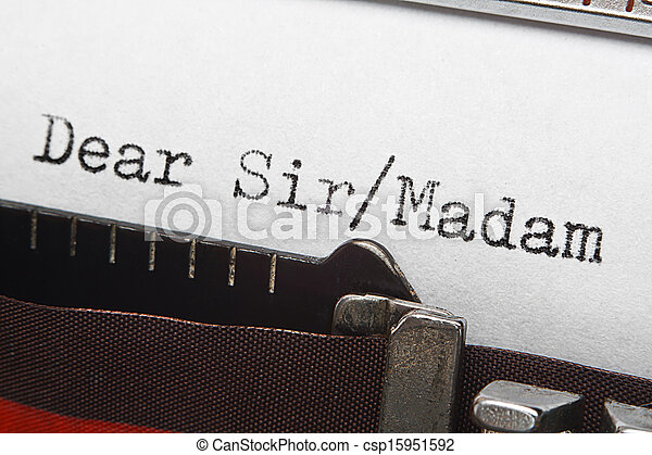 letter writing intro text on retro typewriter - csp15951592