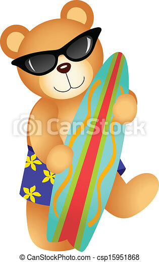 ... vectorial image representing a surfing teddy bear, isolated on white