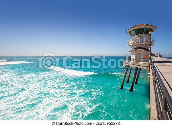 Huntington beach main lifeguard tower Surf City California - csp15952272