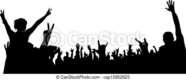 Vector Illustration of Concert Crowd Silhouette on white ...