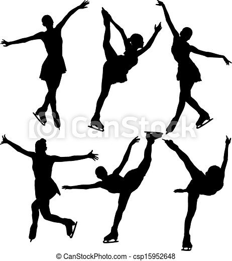 eps vector of ice skating silhouette on white background ice skating clipart black and white figure skate clipart