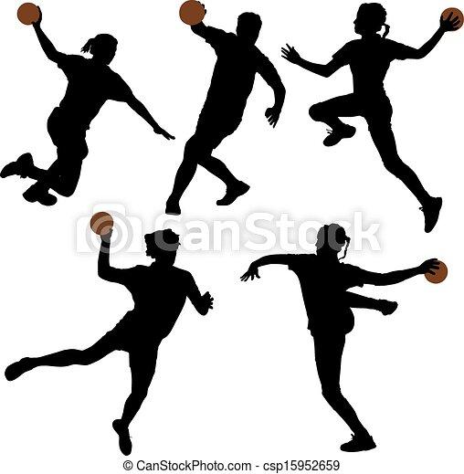 ハンドボール - csp15952659 - ハンドボールハンドボール, シルエット, 上に,
