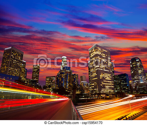 Downtown LA night Los Angeles sunset skyline California - csp15954170