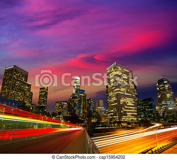 Downtown LA night Los Angeles sunset skyline California - csp15954202