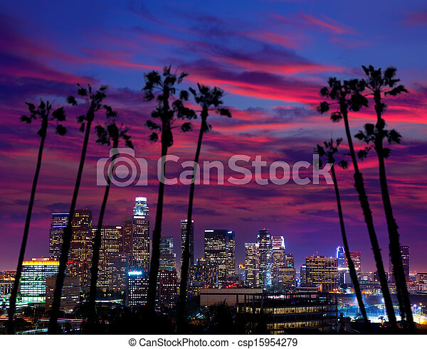 Downtown LA night Los Angeles sunset skyline California - csp15954279