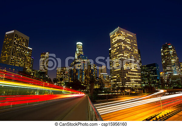 Downtown LA night Los Angeles sunset skyline California - csp15956160