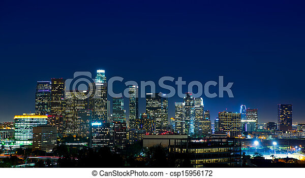 Downtown LA night Los Angeles sunset skyline California - csp15956172