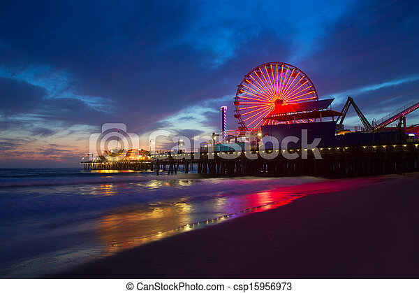 Santa Monica California sunset on Pier Ferrys wheel - csp15956973