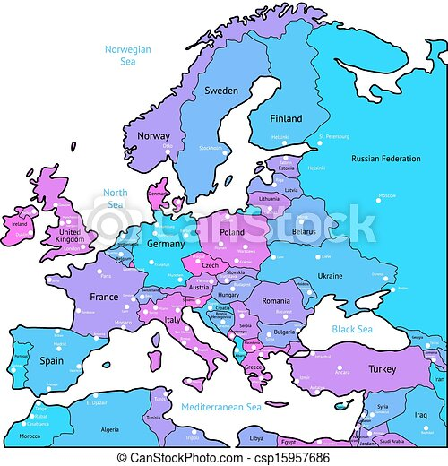 Vector of Cyan and violet map of Europe - Europe map of blue, pink ...