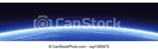Horizon and world banner - csp1595975