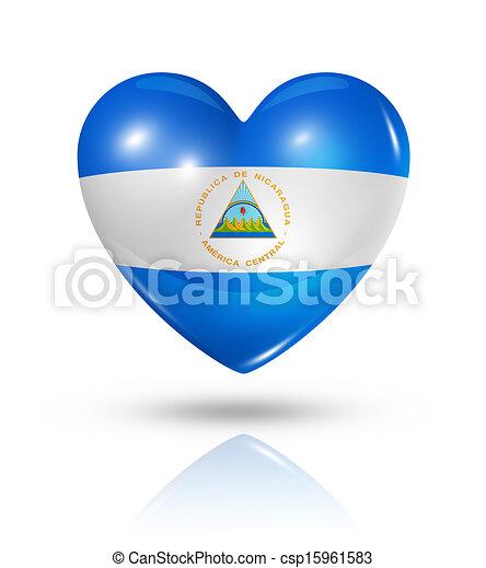 Love Nicaragua, heart flag icon - csp15961583