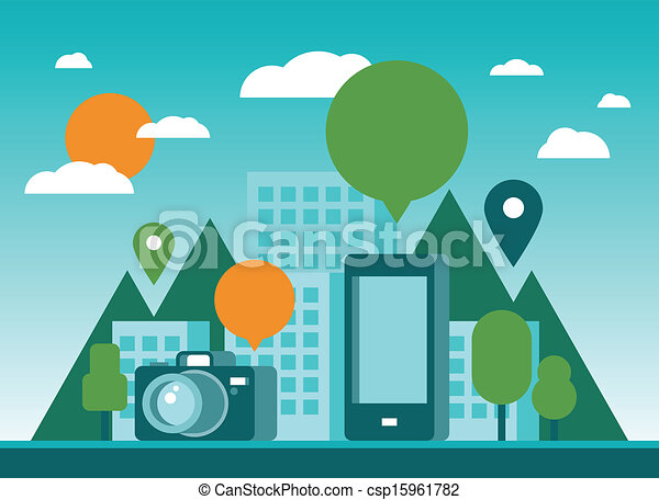 Tourism and mobility in city illustration - csp15961782