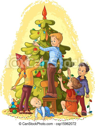 kids decorating a christmas tree csp15962072