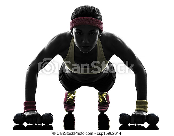 kvinna, silhuett, genomkörare, exercerande,  fitness, trycka,  ups - csp15962614