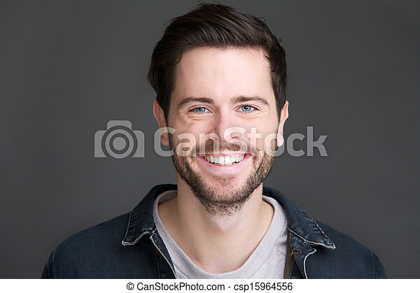 ungt se, kamera, stående, leende herre - csp15964556