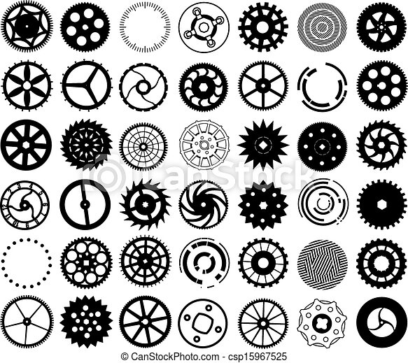 Vector set of silhouettes of gears and other round objects - csp15967525