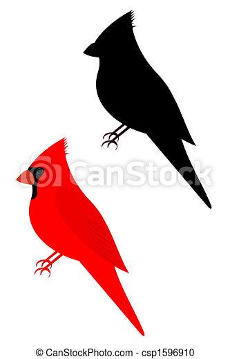 Stock Illustration of cardinal - Set of two cardinal birds ...