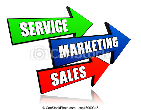Drawing of service, marketing, sales in arrows - service ...