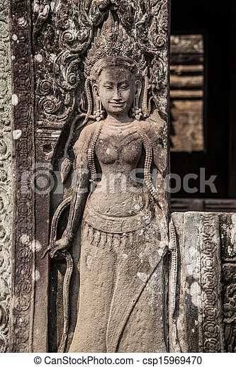 Apsara carved on the wall of the Elephant terrace, Angkor Thom. cambodia. Asia, Tradition, Culture and Religion. - csp15969470