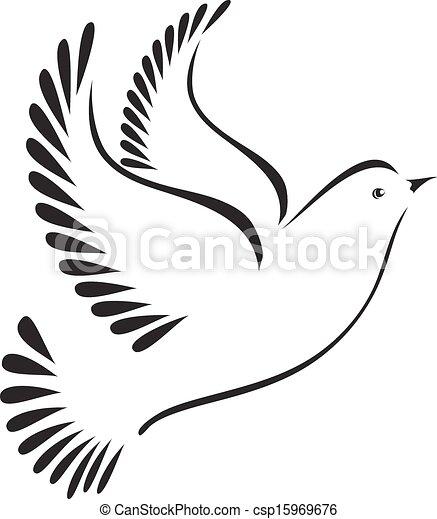 Illustrations vectoris es de colombe ou oiseau stylis csp15969676 recherchez des images - Dessin colombe gratuit ...