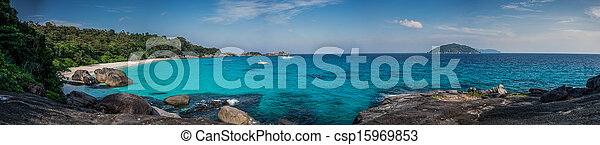 Huge Panorama of Perfect Tropical Island beach and rocks with turqoise sea at Similan Marine Park. Thailand, South East Asia. - csp15969853