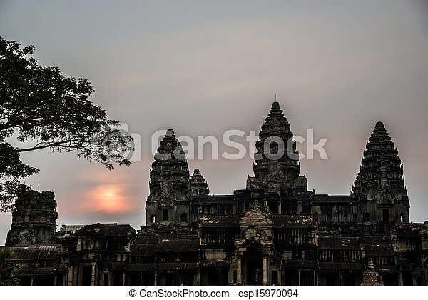 Angkor Wat at Sunset. Cambodia. Temples, Ancient Civilization. Asia. Tradiotion, Culture and Religion. - csp15970094