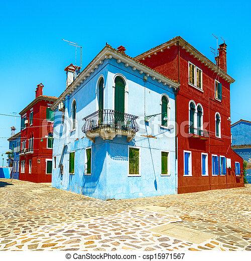Venice landmark, Burano island street, colorful houses, Italy - csp15971567