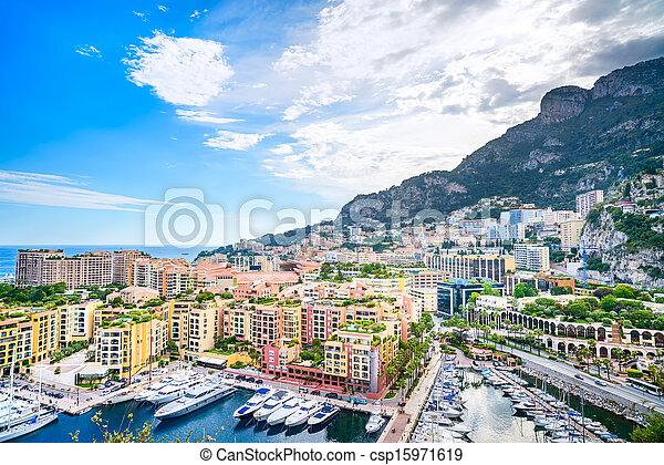 Monaco Montecarlo principality aerial view cityscape. Azure coast. France - csp15971619