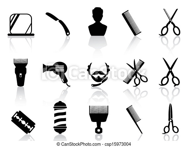 barber tools and haircut icons set 	 - csp15973004