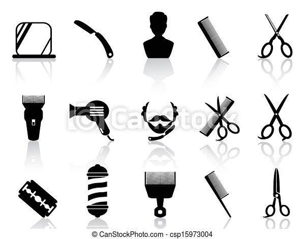 barber tools and haircut icons set  - csp15973004
