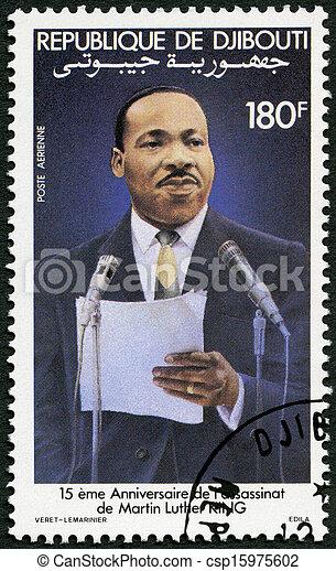 DJIBOUTI - CIRCA 1983: A stamp printed in Republic of Djibouti shows Martin Luther King, Jr. (1929-68), civil rights leader, circa 1983 - csp15975602