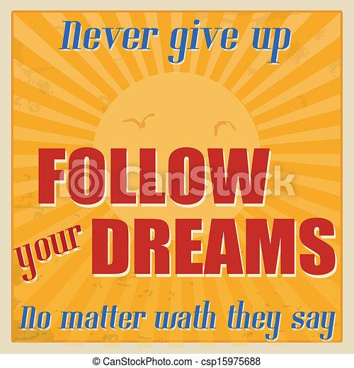 Follow Your Dreams Clipart Vector of Never...