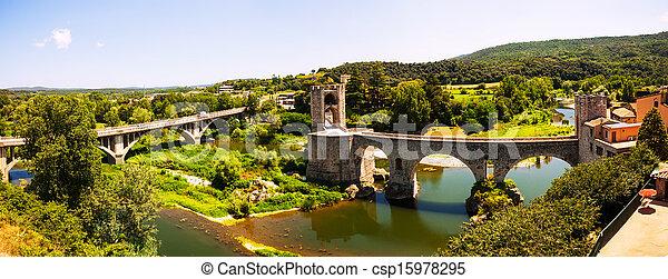 Panoramic view of two bridges in Besalu - csp15978295