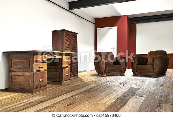 interior wide loft, office and wooden floor - csp15978468
